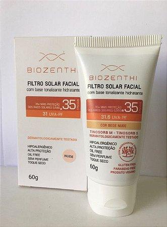 BIOZENTHI - Filtro Solar Fps 35 Uva-Pf 31.6 Bege Nude - 60g - Hipoalergênico - Natural - Vegano