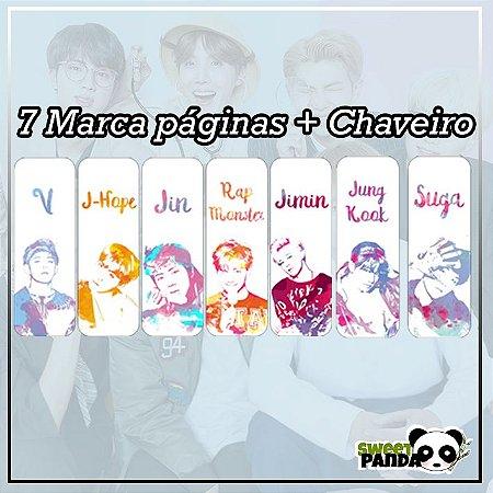 KIT Marca Páginas BTS aquarela + Chaveiro