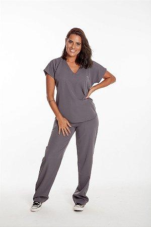 Pijama Cirúrgico Feminino Monise Cinza Escuro