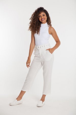 Calça reta Viscose OFF WHITE