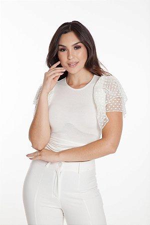 Blusa Cropped Babados Off White