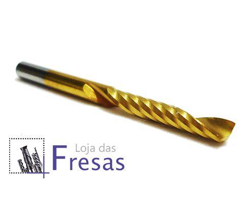 "Fresa de 1 corte helicoidal - 3,175mm (1/8"") - Metal duro c/TiN"