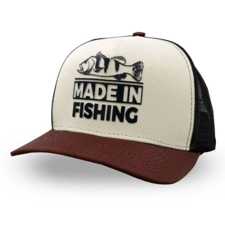 Boné Tradicional Made in Fishing ® - Original - Bege e Marrom