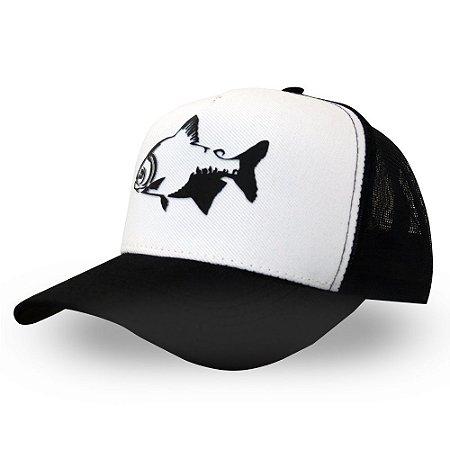 Boné Tamba - Made in Fishing ® - Original - Branco e preto