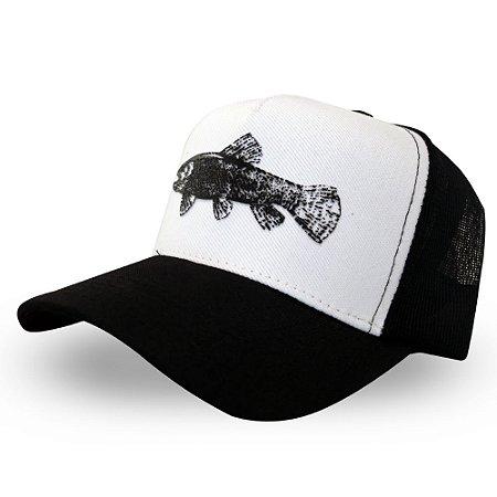 Boné Trairão - Made in Fishing ® - Original - Branco e preto