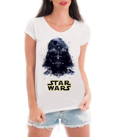 Camiseta Feminina T-shirt Branca Rendada - Star Wars Darth Vader