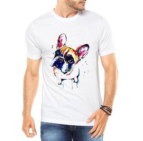 Camiseta Masculina Branca Bulldog Watercolor Colorido