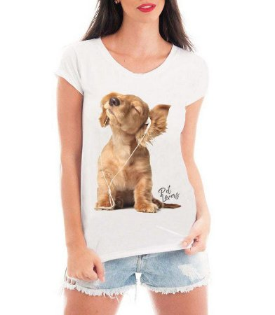 Camiseta Feminina T-shirt Branca Dog Som Vibes