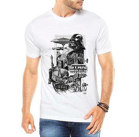Camiseta Masculina Branca - Star Wars Darth Vader e Boba Fett