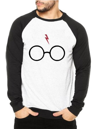 Moletom Masculino Raglan - Óculos Cicatriz Harry Potter