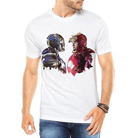 Camiseta Masculina Branca - Homem de Ferro