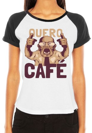 Camiseta Raglan Feminina Quero Café