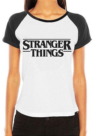 Camiseta Feminina Raglan Branca Stranger Things