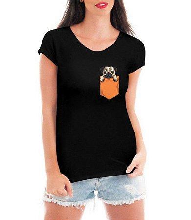 Camiseta Feminina T-shirt Pug no Bolso