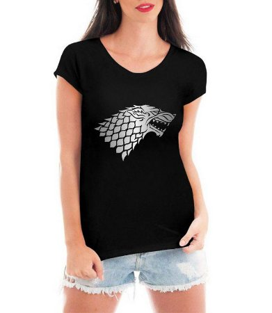 Camiseta Feminina T-shirt Preta Game of Thrones House of Stark