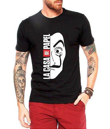 Camiseta Masculina Preta La Casa De Papel