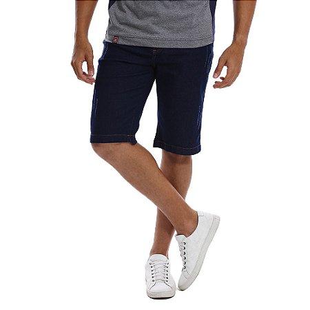 Bermuda Jeans Masculina Azul Escuro Lisa Slim com Lycra