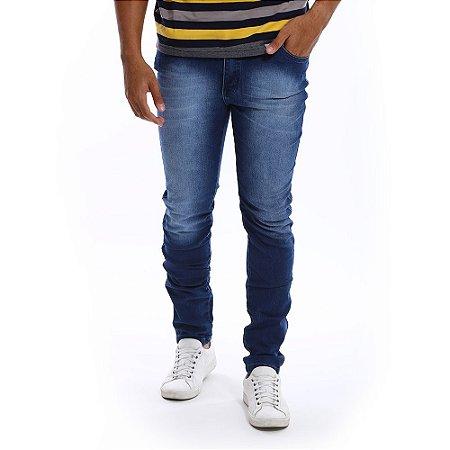 Calça Jeans Masculina Slim Manchada Azul