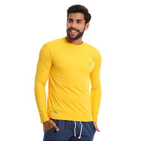 Camisa UV Masculina Com Proteção Solar Fator 50 Amarela