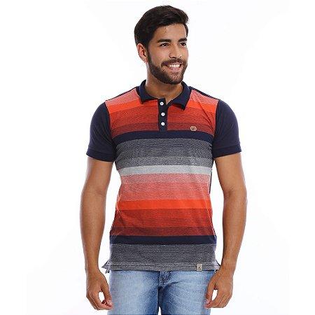 Camisa Polo Masculina Listrada Em Degradê Azul e Laranja - COMPRE ... 239584d3761d6