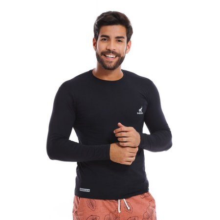 Camisa UV Masculina Com Proteção Solar Fator 50 Preta