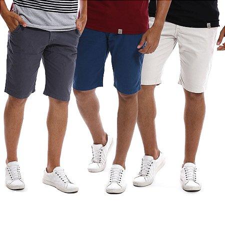 Kit com 3 Bermudas Masculinas Coloridas Brim e Sarja