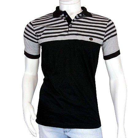 Camisa Polo Masculina Preta Listrada em Promoção - COMPRE ROUPA ... e911db5128944