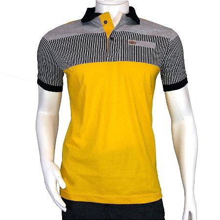 1bb3b8e172 Camisa Polo Masculina Amarela com Listras Cinzas - COMPRE ROUPA ...