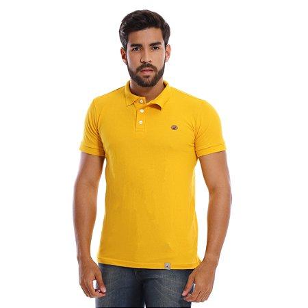 Camisa Polo Masculina Amarela Lisa com Malha Piquet