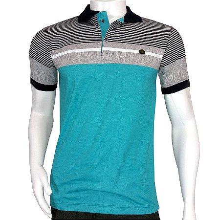 Camisa Polo Masculina Verde Listrada - Queima de Estoque - COMPRE ... f0a956a6700fd