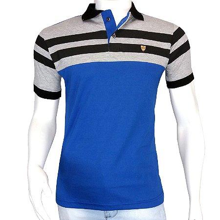 e18bfca3a1 Camisa Polo Masculina Azul Listrada em Queima de Estoque - COMPRE ...