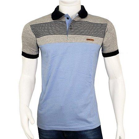 bf7723f1ebf46 Camisa Polo Masculina Blitz Azul Claro Listrada Promoção - COMPRE ...