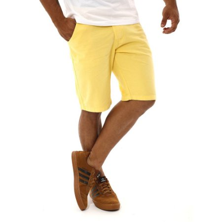 Bermuda Masculina Brim Sarja Lisa Barata Amarela