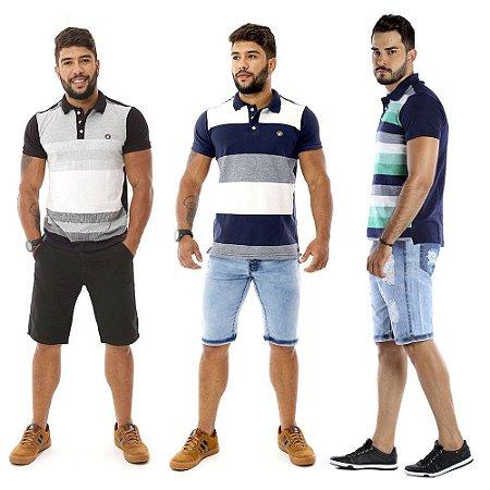 Kit com 3 Camisas Gola Polo Masculinas Listradas