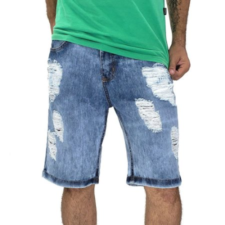 Bermuda Jeans Masculina Rasgadinha Premium Bamborra