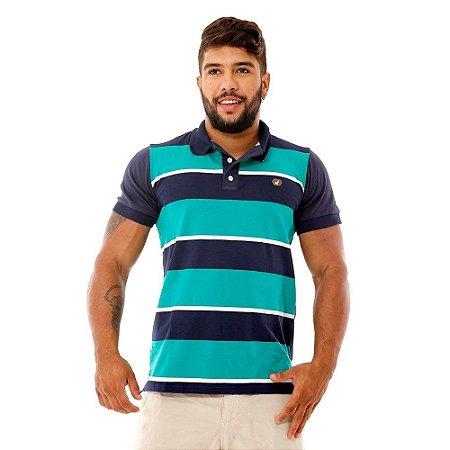 Camisa Polo Listrada Masculina Azul e Verde