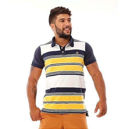 Camisa Polo Listrada Masculina Azul Branco e Amarelo