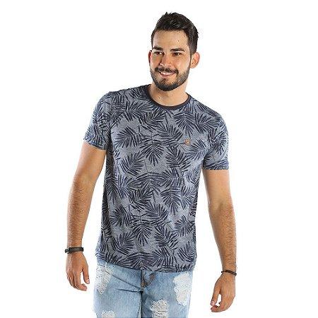 Camiseta Masculina Cinza Estampada com Folhas