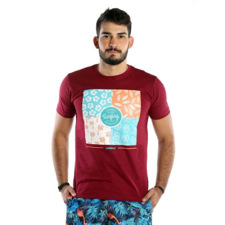 Camiseta Estampada Masculina Vermelha Vintage Surf