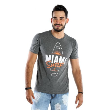 Camiseta Estampada Masculina Miami Surf Cinza