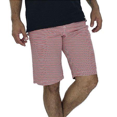 Bermuda Masculina Estampada Listras Vermelhas Horizontais