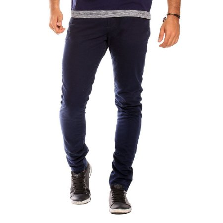 Calça Casual Masculina de Sarja Azul Marinho Bamborra