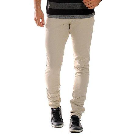 Calça Sarja Masculina Modelo Slim Casual Cor Bege