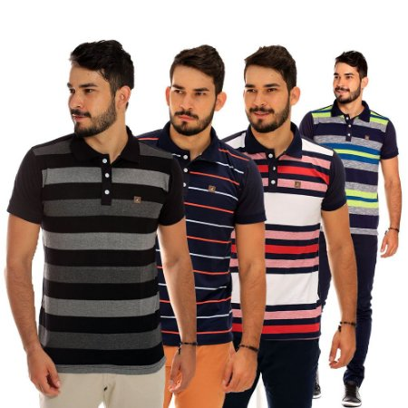 dd8aaad372 Kit com 4 Camisas Polo Masculinas Listradas - Menor Preço - COMPRE ...