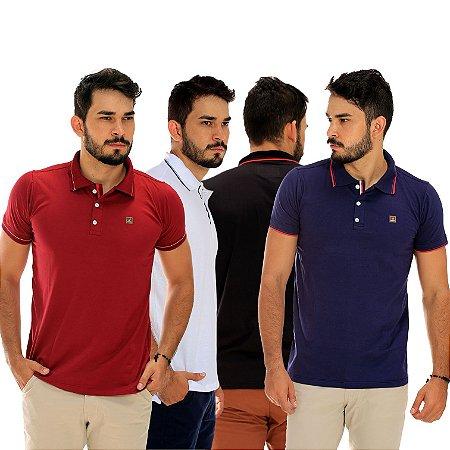 b80871422a Kit com 4 Camisas Polo Masculinas Básicas Lisas