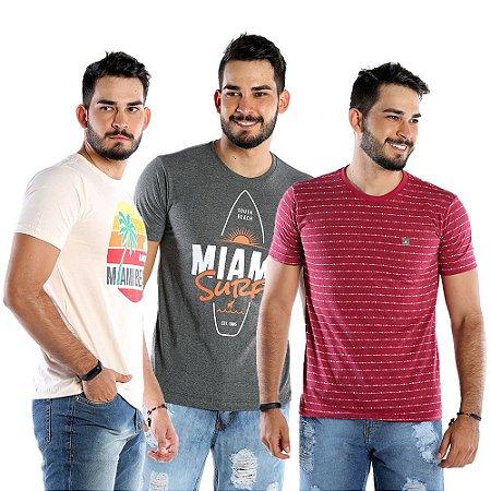 Kit com 3 Camisetas Estampadas Masculinas Bamborra