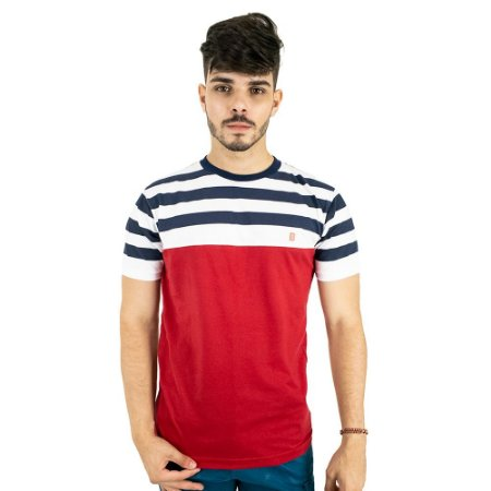 Camiseta Básica Masculina Vermelha Listrada Blitz