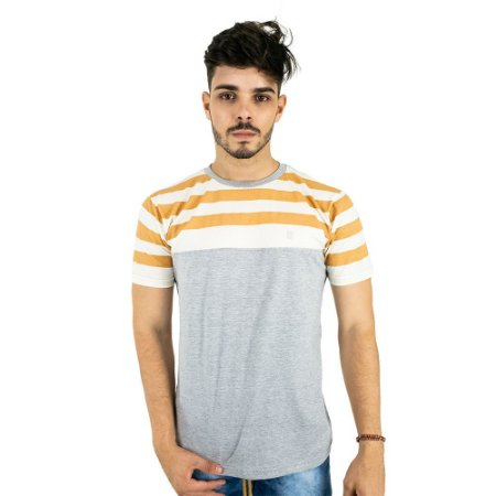 Camiseta Básica Masculina Cinza Listrada Blitz