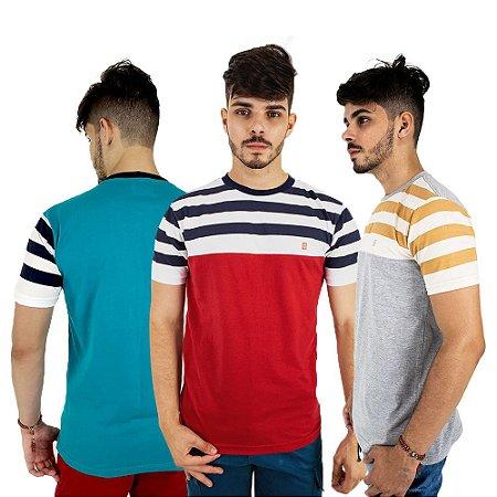 Kit com 3 Camisetas Masculinas Básicas Baratas Blitz