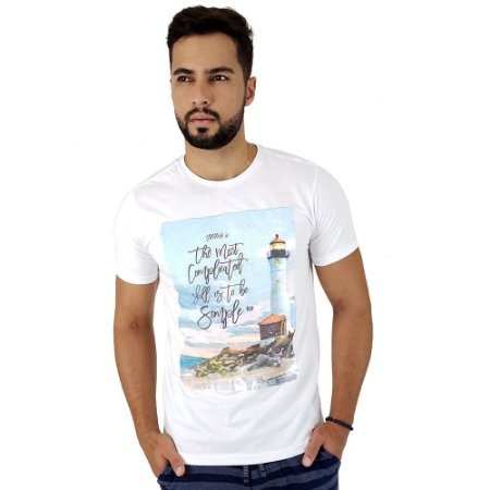 Camiseta Masculina Mitchs Branca Estampa To Be Simple